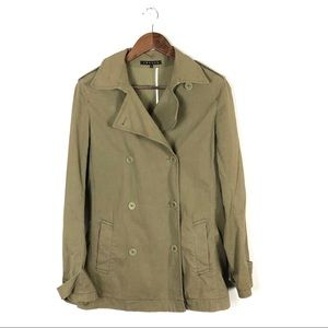 Theory Military Style Double Breast Green Trench L